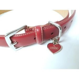 COACH *NWOT* Deep Red Leather XL Dog Collar